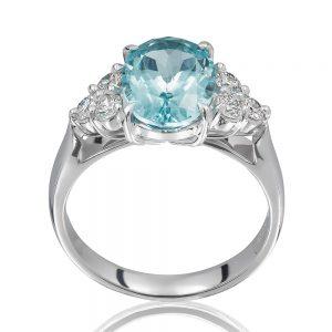 Oval Cut Aquamarine and diamond Ring