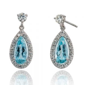 Holloway Diamonds Aquamarine and Diamond Drop Earrings 080510