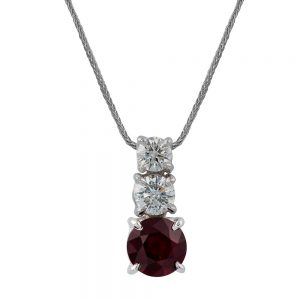 Fluide Drop Pendant with Round Brilliant Cut Diamond and Ruby
