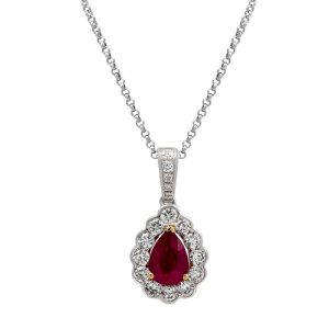 Pear Cut Ruby with Cluster Pendant