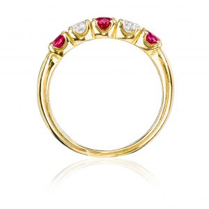 Ruby and Diamond alternating 5 stone yellow gold ring standing