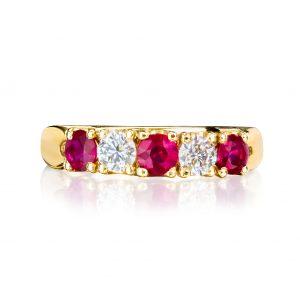 Ruby and Diamond alternating 5 stone yellow gold ring 2