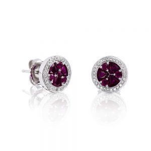 Holloway Diamonds Brilliant Rubies and Diamond Cluster Earrings 090583