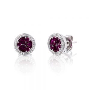 Holloway Diamonds Brilliant Rubies and Diamond Cluster Earrings 090583