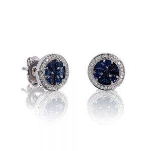 Holloway Diamonds Brilliant Sapphire and Diamond Cluster Earrings 090585