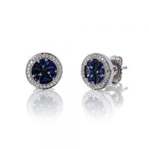 Holloway Diamonds Brilliant Sapphire and Diamond Cluster Earrings 090585