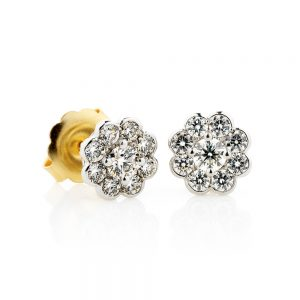 Holloway Diamonds Bezel Set Diamond Cluster Stud Earrings 110377
