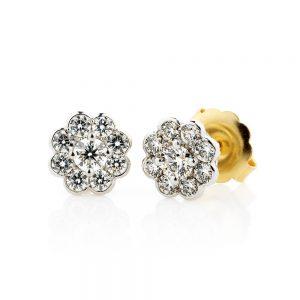 Holloway Diamonds Bezel Set Diamond Cluster Stud Earrings 110377