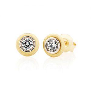 yellow gold bezel set diamond earrings