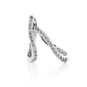 18k Diamond twist Hoop Earrings