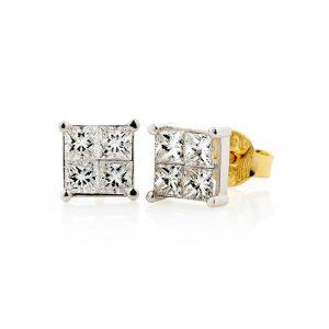 Princess Diamond Stud Earrings