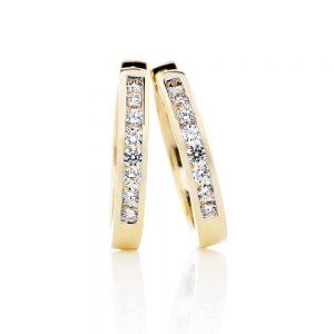 Diamond Hoop Earrings in Yellow Gold