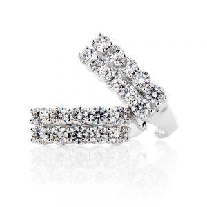 Twin Rows Diamond Stud Earrings