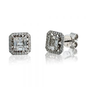 Cluster Earrings with Baguette and Round Brilliant Cut Diamonds