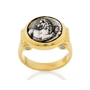 Ancient Coin Ring with diamonds