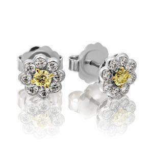 Yellow Diamond Cluster Stud Earrings flower