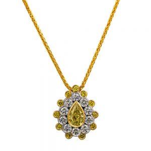 Pear Cut Yellow Diamond Cluster Pendant and white diamonds