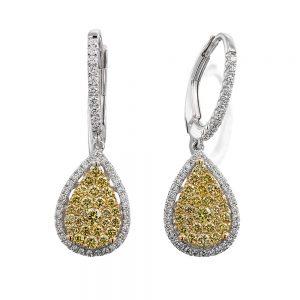 Yellow diamond Drop Articulated Diamond Earrings
