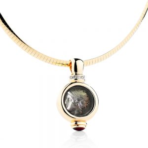 Greek Coin Pendant with Garnet and Diamonds