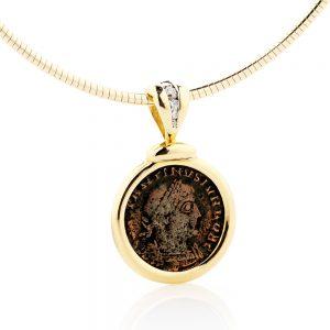 Roman Coin Pendant with Diamonds