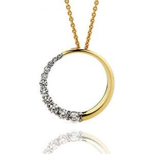 Diamond Circle yellow gold Pendant