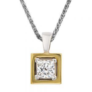 Princess Cut Diamond Pendant yellow gold