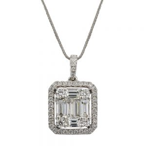 Baguette and Round Brilliant Cut Diamond Pendant