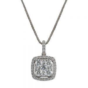 18k White Gold Square Shaped Round Brilliant Cut Diamond Pendant