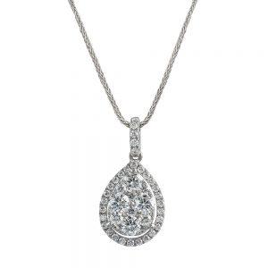 Pear Shaped halo Diamond Pendant