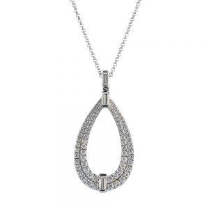 Pave Drop Style Diamond Pendant pear shaped