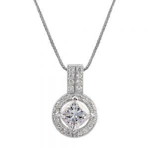 Princess Cut and Diamond Pendant