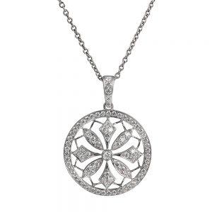 Elegant 18k white gold circular diamond pendant with almost 1ct total ideal cut diamonds