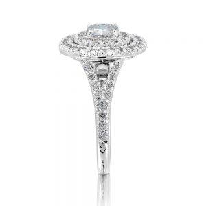 Double Cluster Cushion Cut Diamond Ring