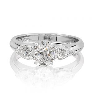 Platinum and 18 karats white gold fancy cut top diamond engagement ring