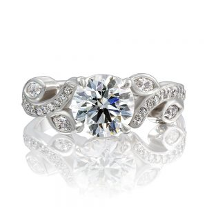 Platinum Claw Set Round Brilliant and Marquise-Cut Diamond Top Ring