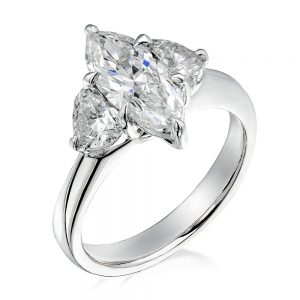 This stunning Marquise Diamond hero Ring features Platinum and an 18 karat white gold ring.