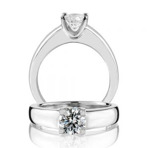 18 karat white gold four claw round brilliant cut solitaire diamond ring