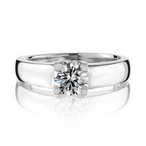 18 karat white gold four claw round brilliant cut solitaire diamond ring