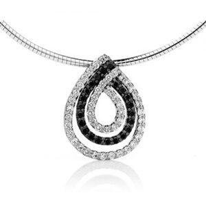 Swirl black and white Diamond Pendant