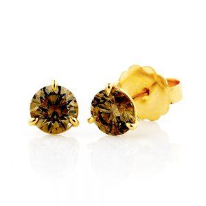 Champagne Diamond Stud yellow gold Earrings