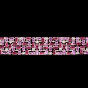 Robert Procop Pink sapphire, ruby and diamond masterpiece bracelet
