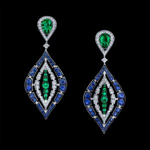Procop New American Glamour Emerald and Blue Sapphire Earrings