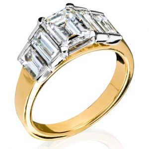 Holloway Diamonds Emerald cut diamond ring with baguettes 180768-08