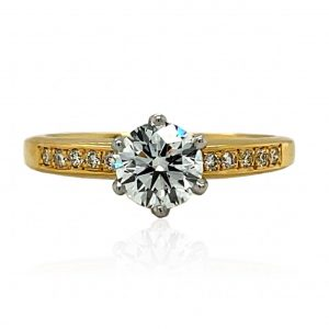 1 carat E VS2 GIA certified 18k gold and platinum diamond engagement ring