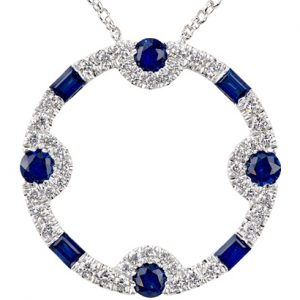 18k white gold baguette and round brilliant cut sapphires pendant
