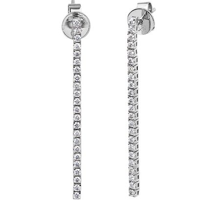 18K white gold square claw set drop earrings