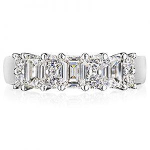 emerald cut and rbc diamond 18k white gold ring