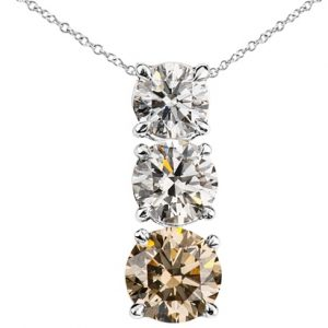 diamond pendant with a 1.6ct champagne and two white diamonds