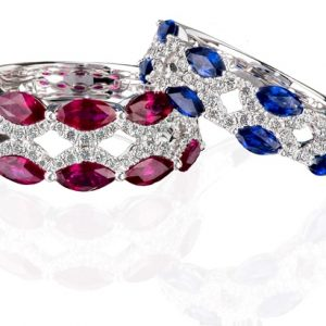 18k white gold Sapphire or Ruby and diamond dress ring