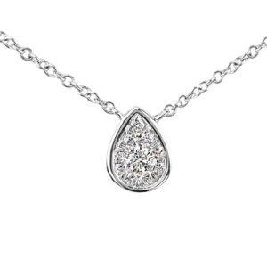 18 karat white gold grain set tear drop shaped diamond pendant
